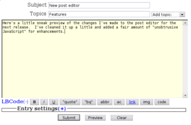 New post editor