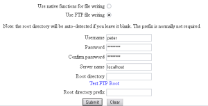 FTP file writing configuration