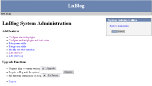 LnBlog administration page